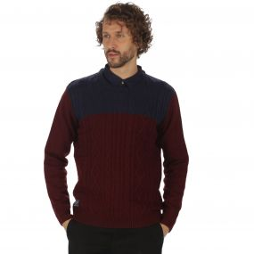 Koby Mid Weight Cable Knit Sweater Bitter Chocolate Navy