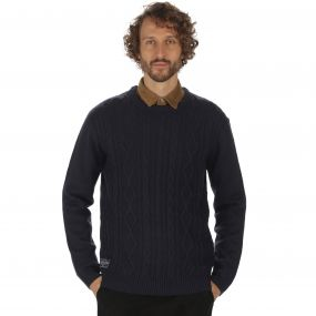 Koby Mid Weight Cable Knit Sweater Navy