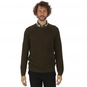 Kolten Crew Neck Cotton Knit Sweater Dark Khaki