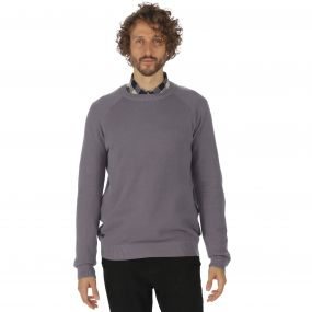Kolten Crew Neck Cotton Knit Sweater Rock Grey