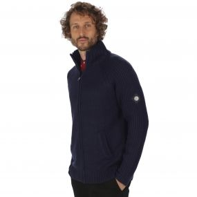Kaeden Chunky Knit Full Zip Cardigan Navy