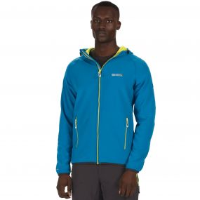 Men's Arec Stretch Hooded Softshell Jacket Petrol Blue Neon Spring