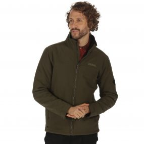 Castiel Sherpa Backed Windproof Softshell Jacket Dark Khaki