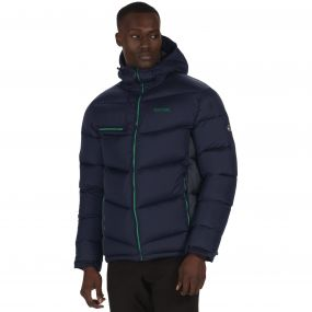 Men's Nevado Super Heavyweight Insulated Hooded Jacket Navy Seal Grey