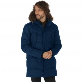 Andram II Down Fill Insulated Faux Fur Trim Hood Parka Jacket Prussian Blue