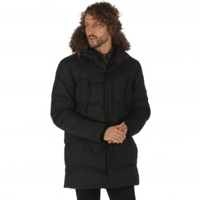 Andram II Down Fill Insulated Faux Fur Trim Hood Parka Jacket Black