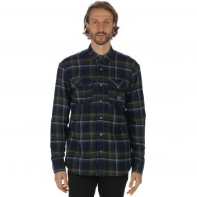Tyrus Long Sleeved Fleece Shirt Navy Check