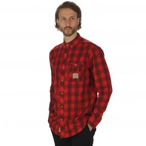 Loman Long Sleeved Checked Shirt Tuscan Red