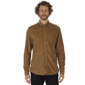 Benton Long Sleeved Corduroy Shirt Dark Camel