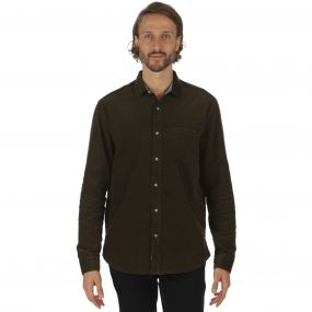 Benton Long Sleeved Corduroy Shirt Dark Khaki