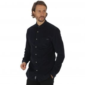 Benton Long Sleeved Corduroy Shirt Navy