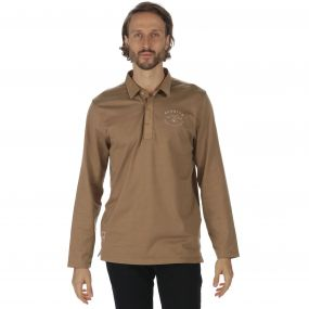Pierce Rugby Style Shirt Long Sleeved Top Dark Camel
