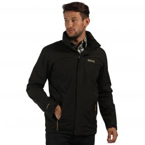 Matt Waterproof Shell Jacket with Concealed Hood Black