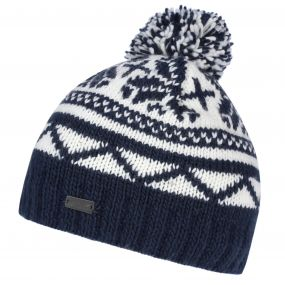 Sleet II Fair Isle Knit Bobble Hat Navy
