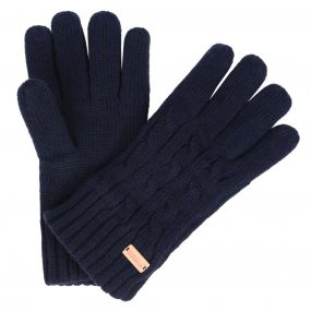 Multimix Fleece Lined Cable Knit Gloves Navy