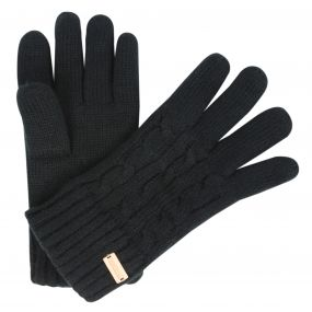 Multimix Fleece Lined Cable Knit Gloves Black