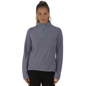 Women's Montes Half Zip Lightweight Mini Stripe Fleece Deep Ultramarine