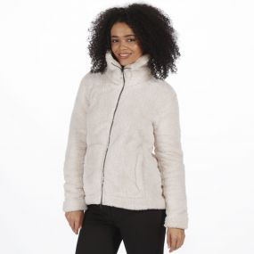 Halsey Fluffy Full Zip Fleece Light Vanilla