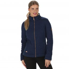 Raneisha Knit Effect Bonded Fleece Navy