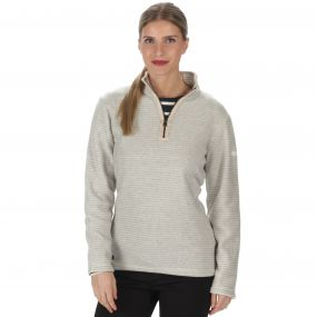 Emilyn Half Zip Striped Fleece Light Vanilla