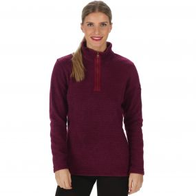 Emilyn Half Zip Striped Fleece Dark Pimento