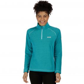 Women's Kenger Half Zip Mid Weight Honeycomb Fleece Aqua