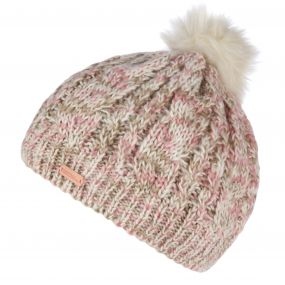 Women's Frosty Knitted Bobble Hat Light Vanilla