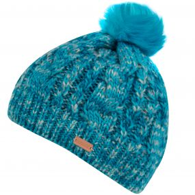 Women's Frosty Knitted Bobble Hat Aqua