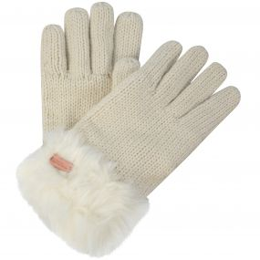 Women's Ludz Faux Fur Trim Knit Gloves Light Vanilla