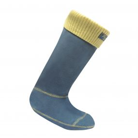 Women's Knitted Cuff Wellington Liner Socks Mallard Blue Celery