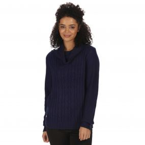 Karalee Cowl Neck Cable Knit Sweater Navy