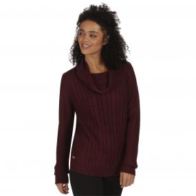 Karalee Cowl Neck Cable Knit Sweater Fig