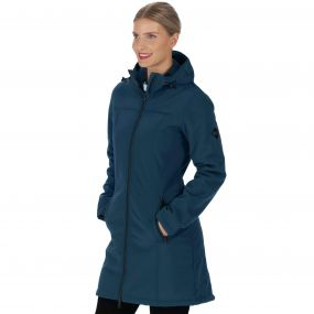 Adelma Long Length Wind Resistant Hooded Softshell Jacket Majolica Blue