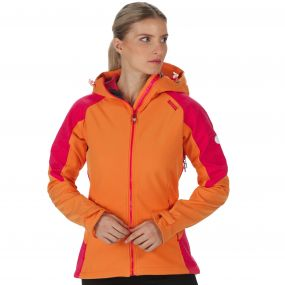 Desoto III Wind Resistant Hooded Softshell Jacket Persimmon Bright Blush Reflective