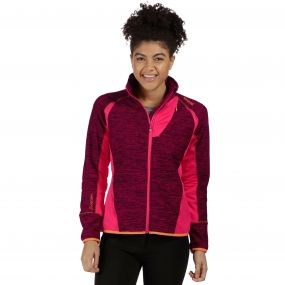 Catley II Hybrid Stretch Wind Resistant Softshell Jacket Dark Cerise Bright Blush Marl