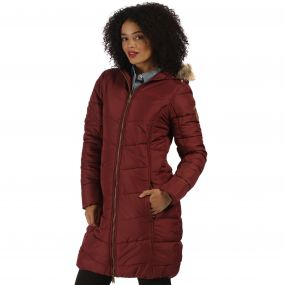 Fearne II Long Length Quilted Puffer Parka Jacket Spiced Mulberry