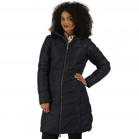 Fearne II Long Length Quilted Puffer Parka Jacket Navy