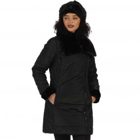 Penthea Long Length High Shine Puffer Jacket with Asymmetric Zip Black