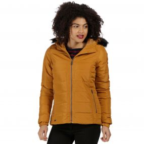 Wynne High Shine Insulated Puffer Jacket Gold Cumin