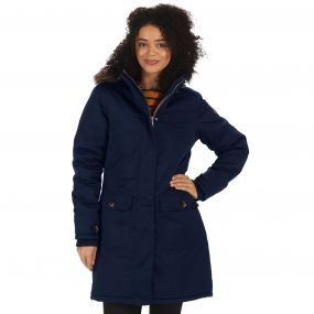 Saphie Breathable Waterproof Insulated Textured Parka Jacket Navy