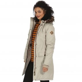 Saphie Waterproof Insulated Parka Jacket Warm Beige
