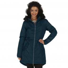 Lucetta Breathable Waterproof Insulated High Shine Parka Jacket Majolica Blue