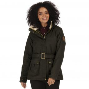 Laurissa Waterproof Insulated Wool Effect Jacket Dark Khaki