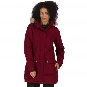 Schima II Waterproof Parka Jacket with Faux Fur Hood Dark Pimento