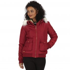Berdine Waterproof High Shine Bomber Jacket with Hood Garnet