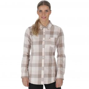 Marcie Coolweave Cotton Checked Shirt Warm Beige