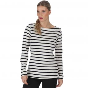 Fayola Long Sleeved Striped Coolweave Cotton T-Shirt Light Vanilla