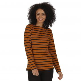 Fayola Long Sleeved Striped Coolweave Cotton T-Shirt Gold Cumin