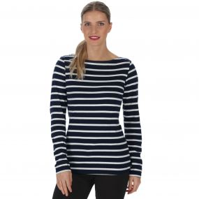 Fayola Long Sleeved Striped Coolweave Cotton T-Shirt Navy