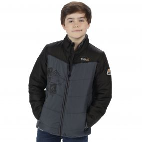 Thunderbirds Are Go Kids Recharge Padded Waterproof Jacket with Reflective Trim Black Seal Grey